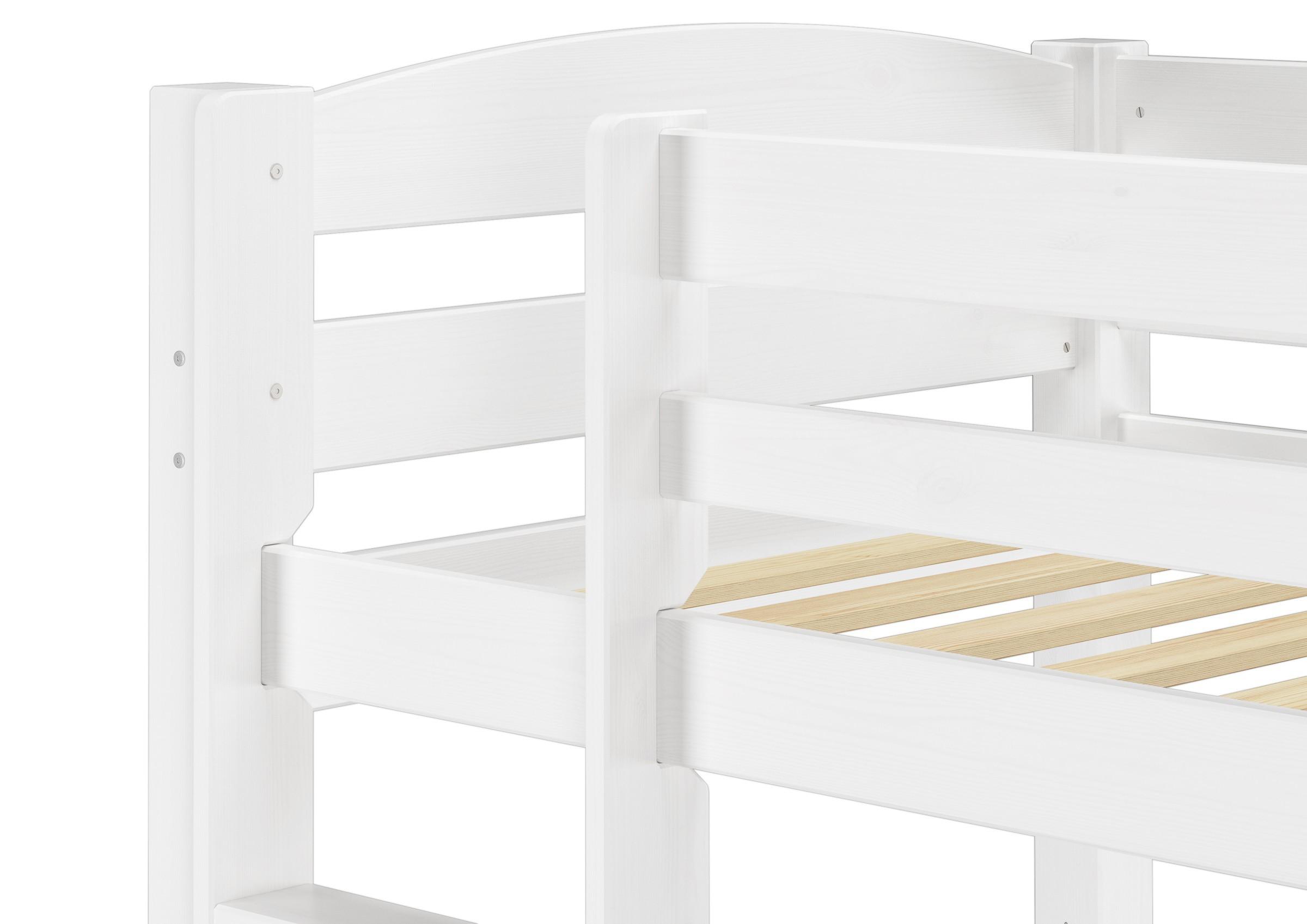 Etagenbett Weiß 90x200 : Etagenbett kiefer weiß 90x200 mit matratzen und rollroste bettkasten