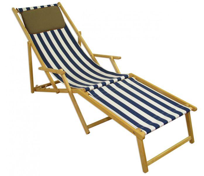 Liegestuhl Mit Fußteil.Strandliege Blau Weiß Liegestuhl Holzliege Buche Natur Fußteil Kissen Klappbar 10 317 N F Kd