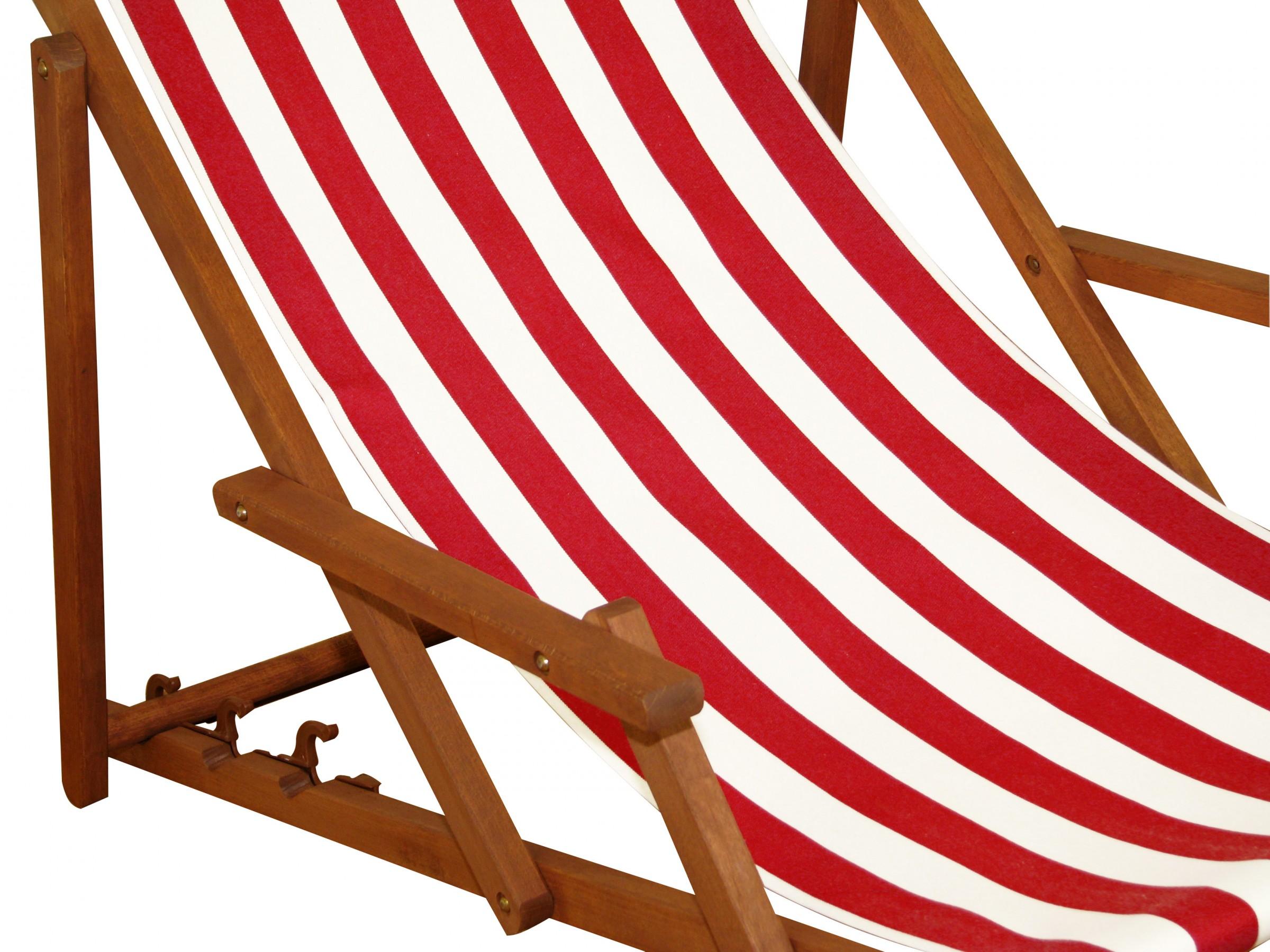 Détails sur Transat pour Jardin Rouge-Blanc Chaise Longue Table Coussin  Hêtre Foncé 10-314