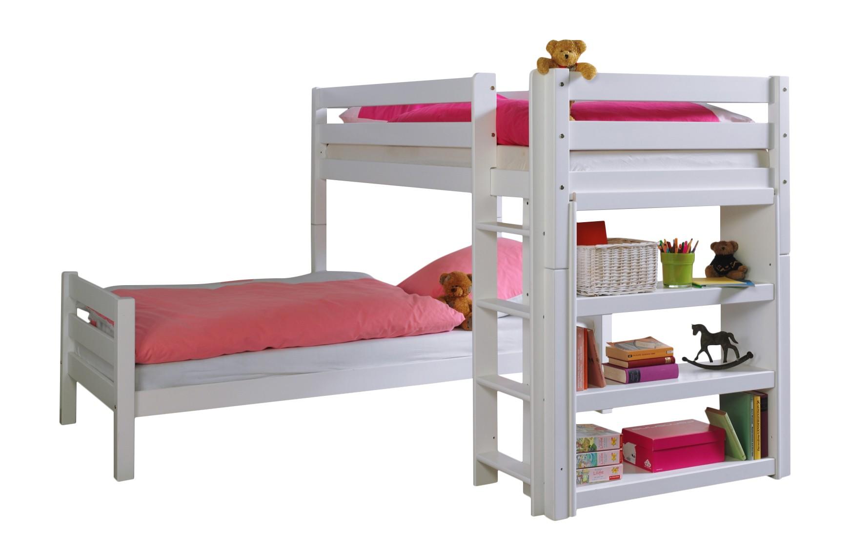 White Beech L Shaped Bunk Bed For 90x200 Mattresses With Shelves Rigid Slats 60 18 09wm Beni L Ceres Webshop
