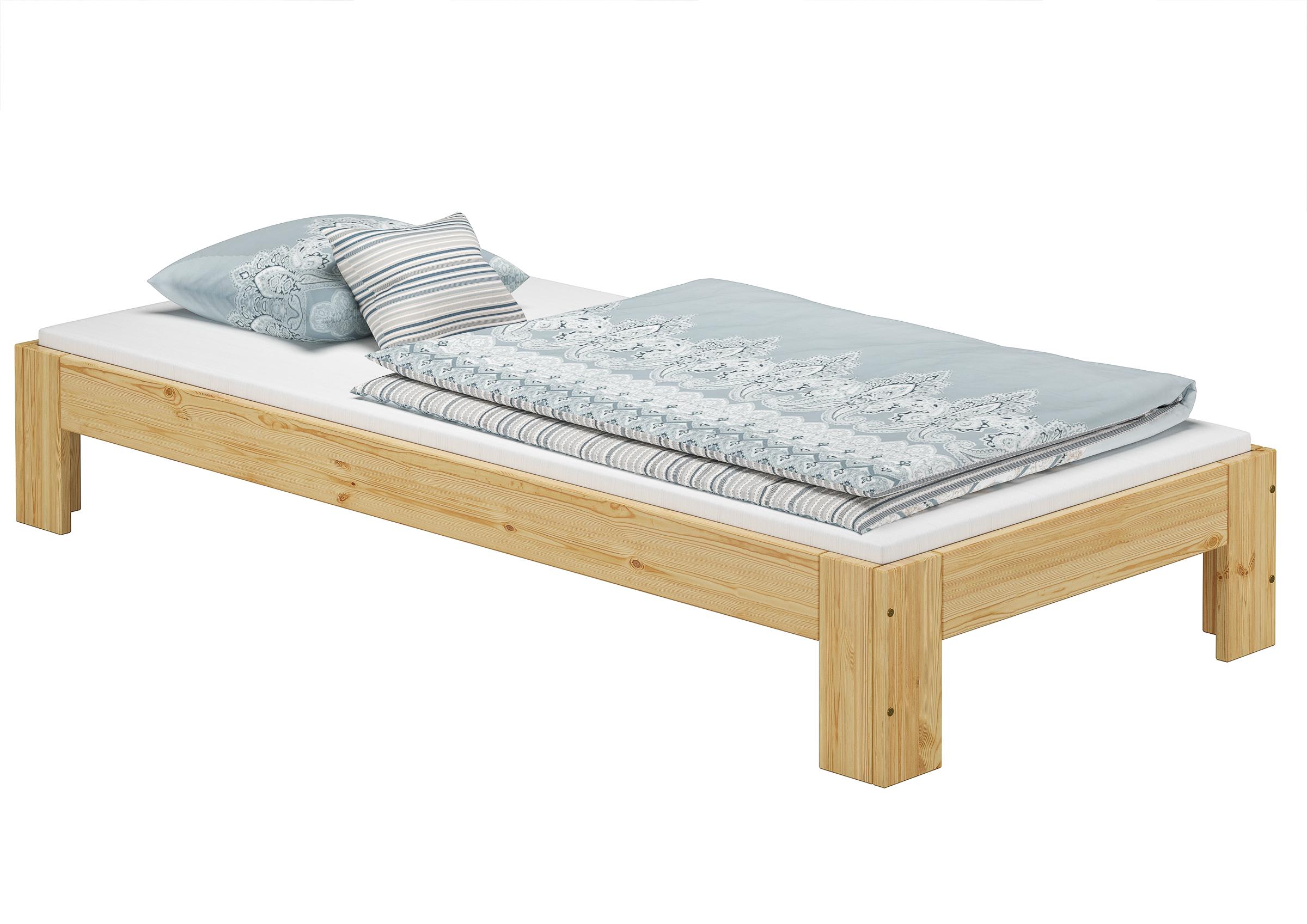 Holzbett ohne Kopfteil Einzelbett 90x200 cm Kiefer massiv mit ...