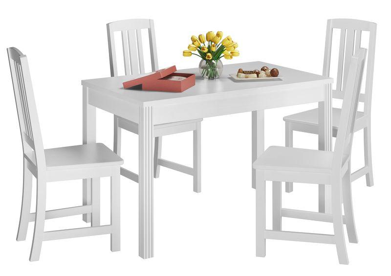 Set Bianco Di Tavolo Da Pranzo Con Zampe Intagliate E 4 Sedie In Pino 90 70 51cw Set22 Www Steinhaus Massivholzmoebel Shop