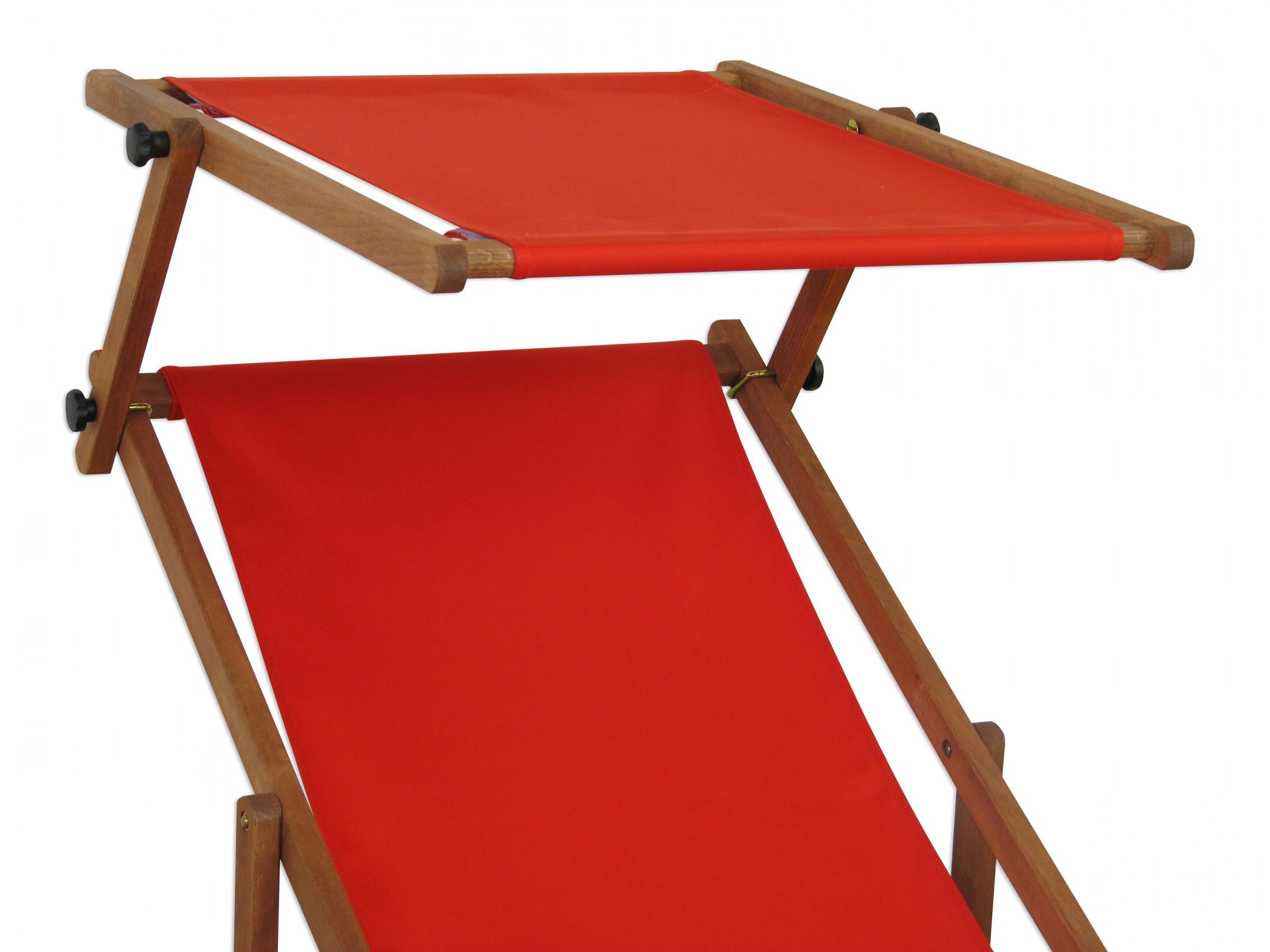 Détails sur Chaise Longue Bois Transat pour Jardin Rouge Toit Ouvrant  Partie de Pied Table