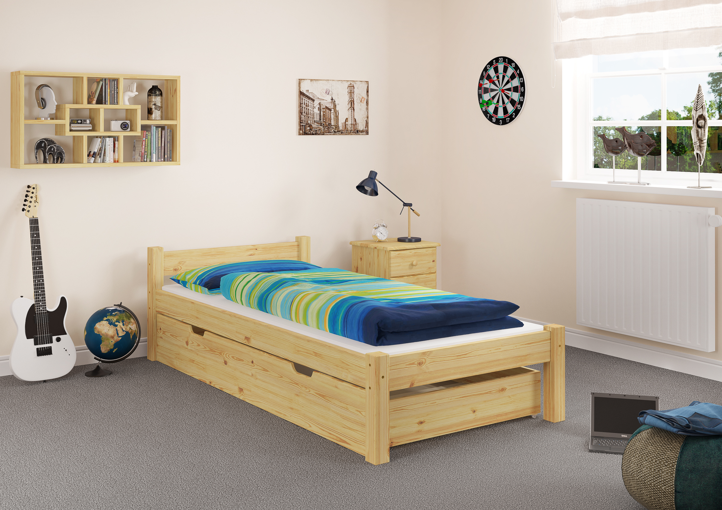 futonbett massivholz bett einzelbett bettgestell 90x200 kiefer natur ebay. Black Bedroom Furniture Sets. Home Design Ideas