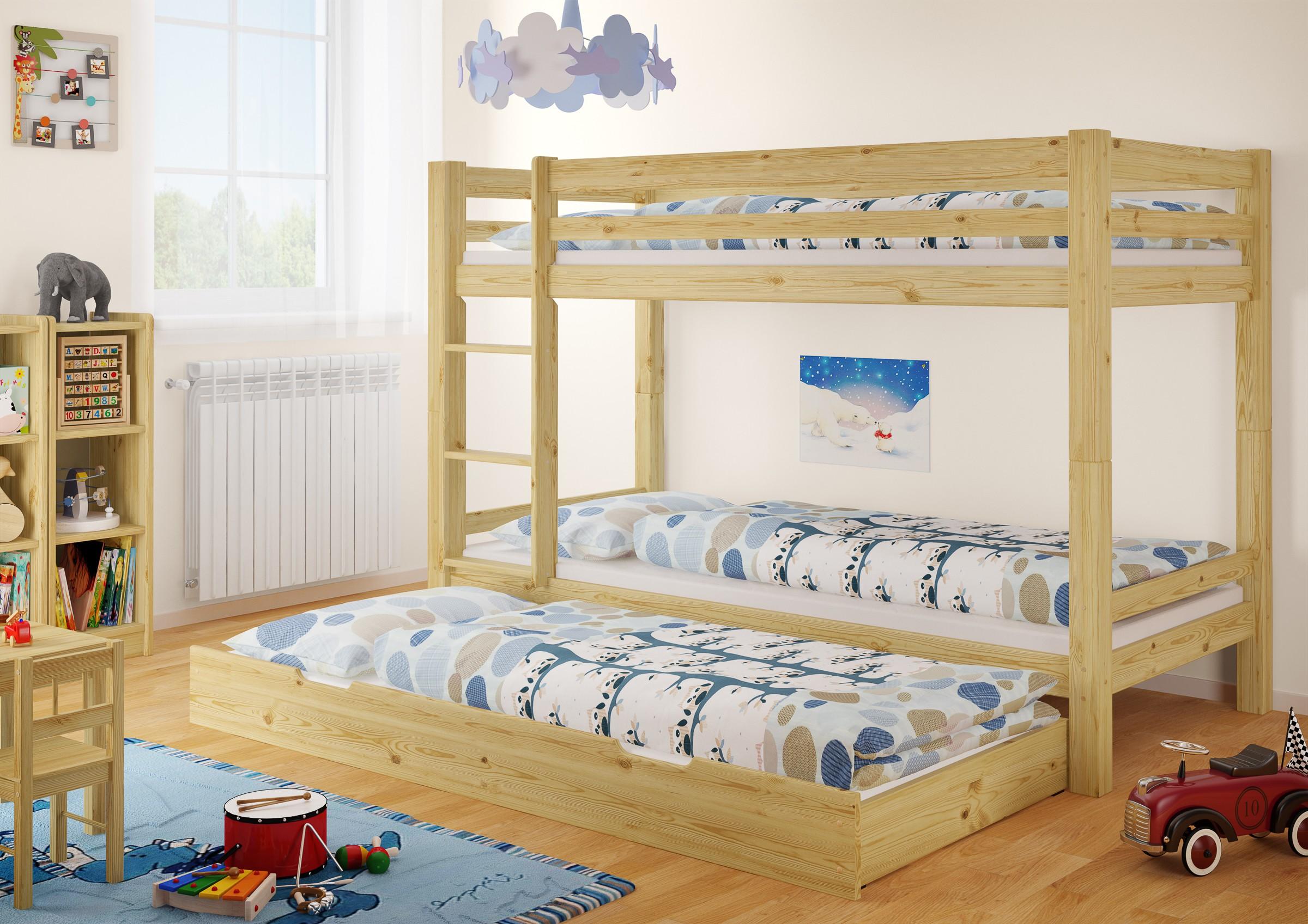 Etagenbett Mit Gästebett : Etagenbett kinderstockbett mit gaestebett und matratzen