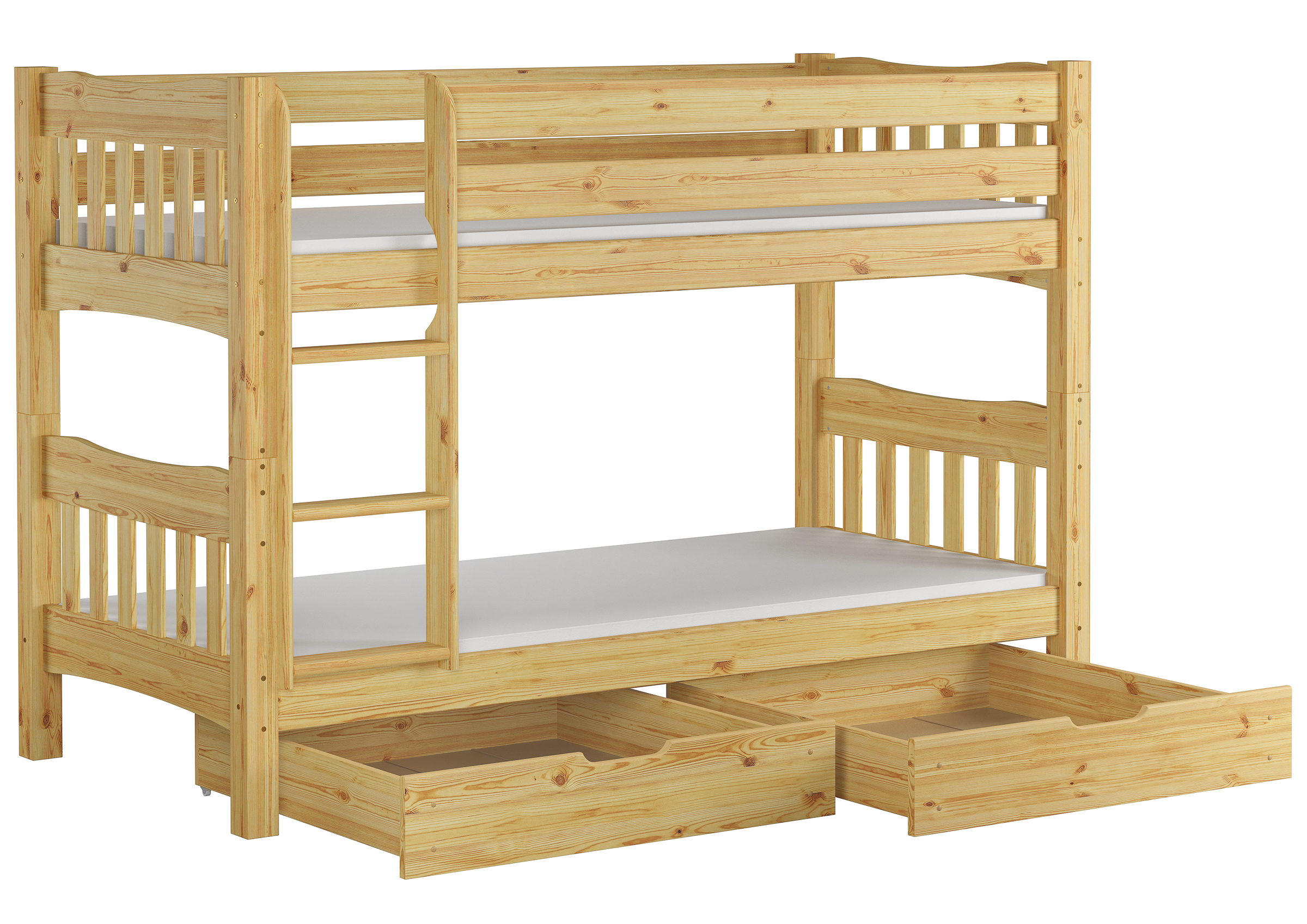 Lovely Pine Bunk Bed With Mattresses 90x200 On Rigid Slats 2 Storage Drawers 60 15 09ni70ms2 Ceres Webshop
