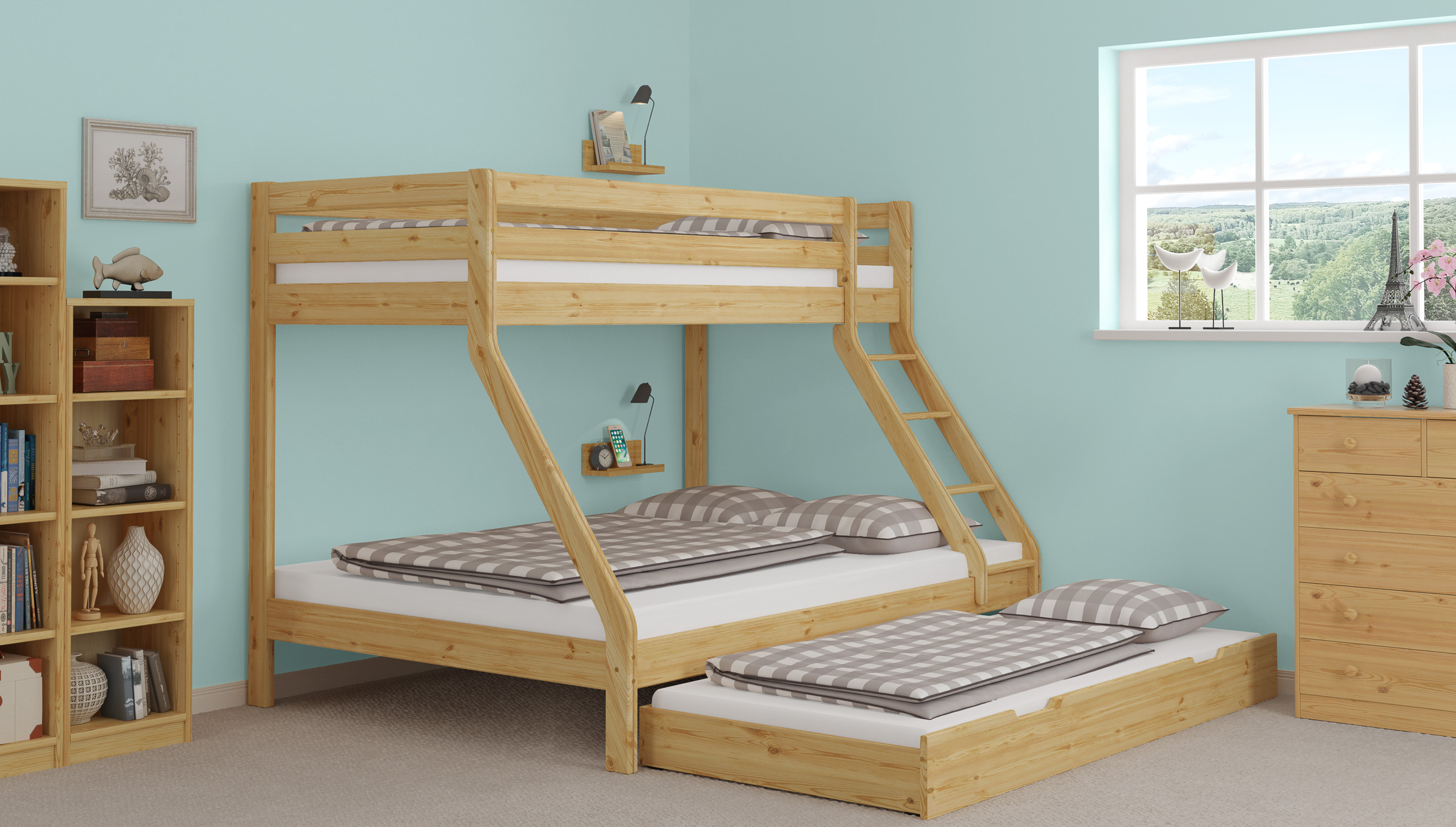 Bunk Bed 3 Places For 140x200 90x200 Mattresses Also For Adults In Solid Pine 60 19 09 14 Ceres Webshop