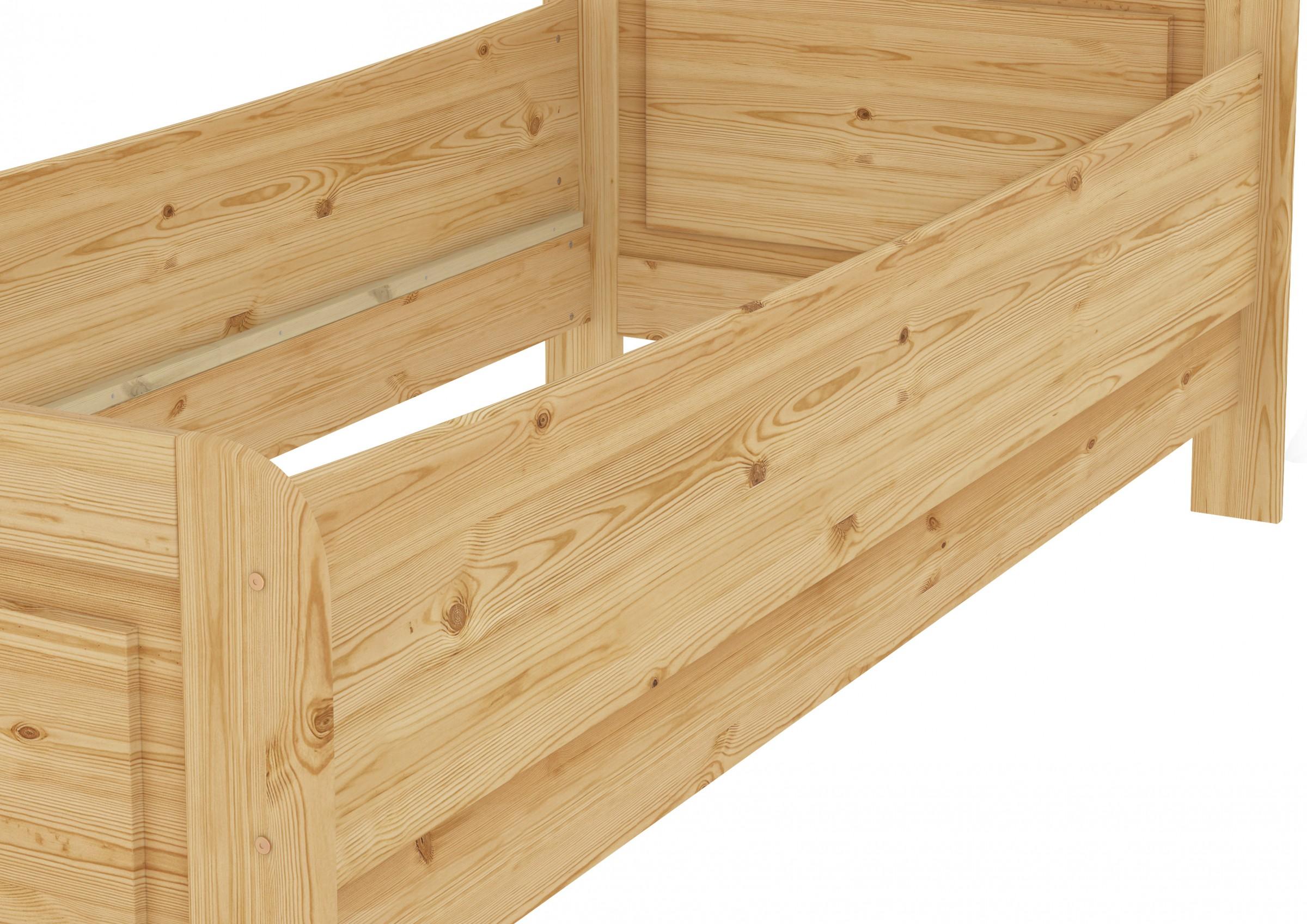 Seniorenbett extra hoch 100x200 Einzelbett Kiefer Bett mit Rollrost ...