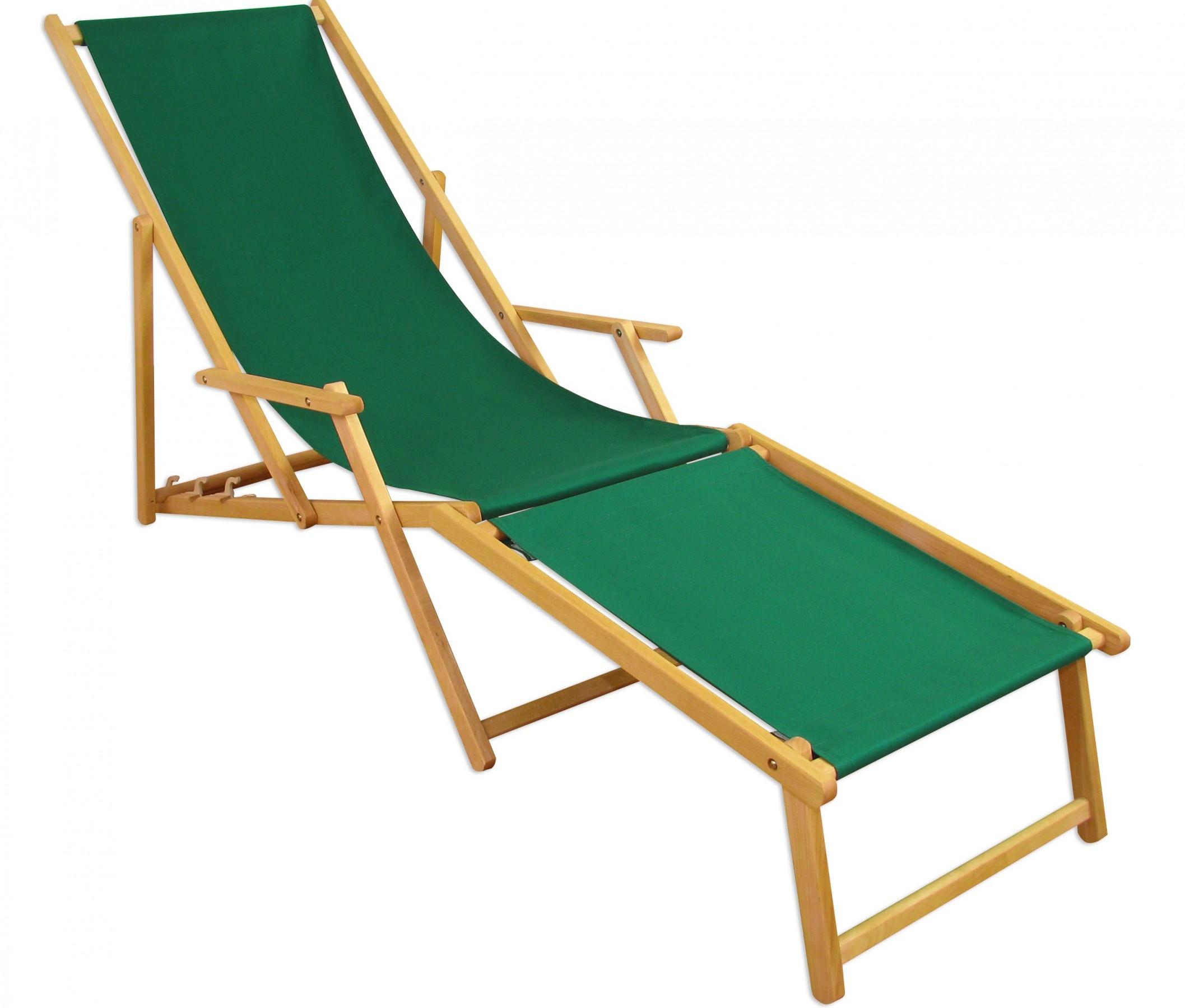 Liegestuhl Gartenliege Grün Fußteil Sonnenliege Strandliege Holz