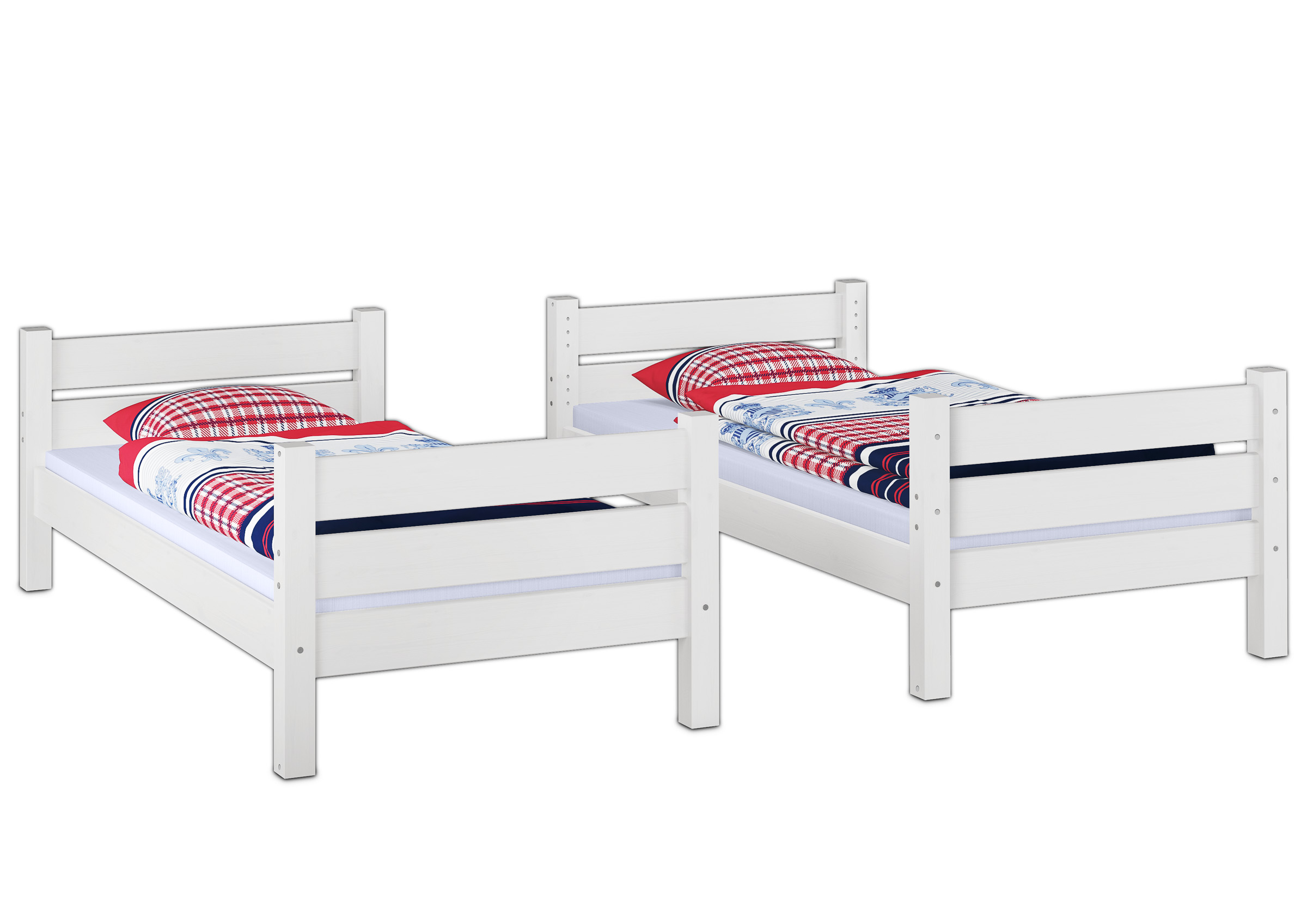 Letti A Castello Divisibili.Solid White Frame Bunk Bed Of Pine Eco 80x200 Also For Adults