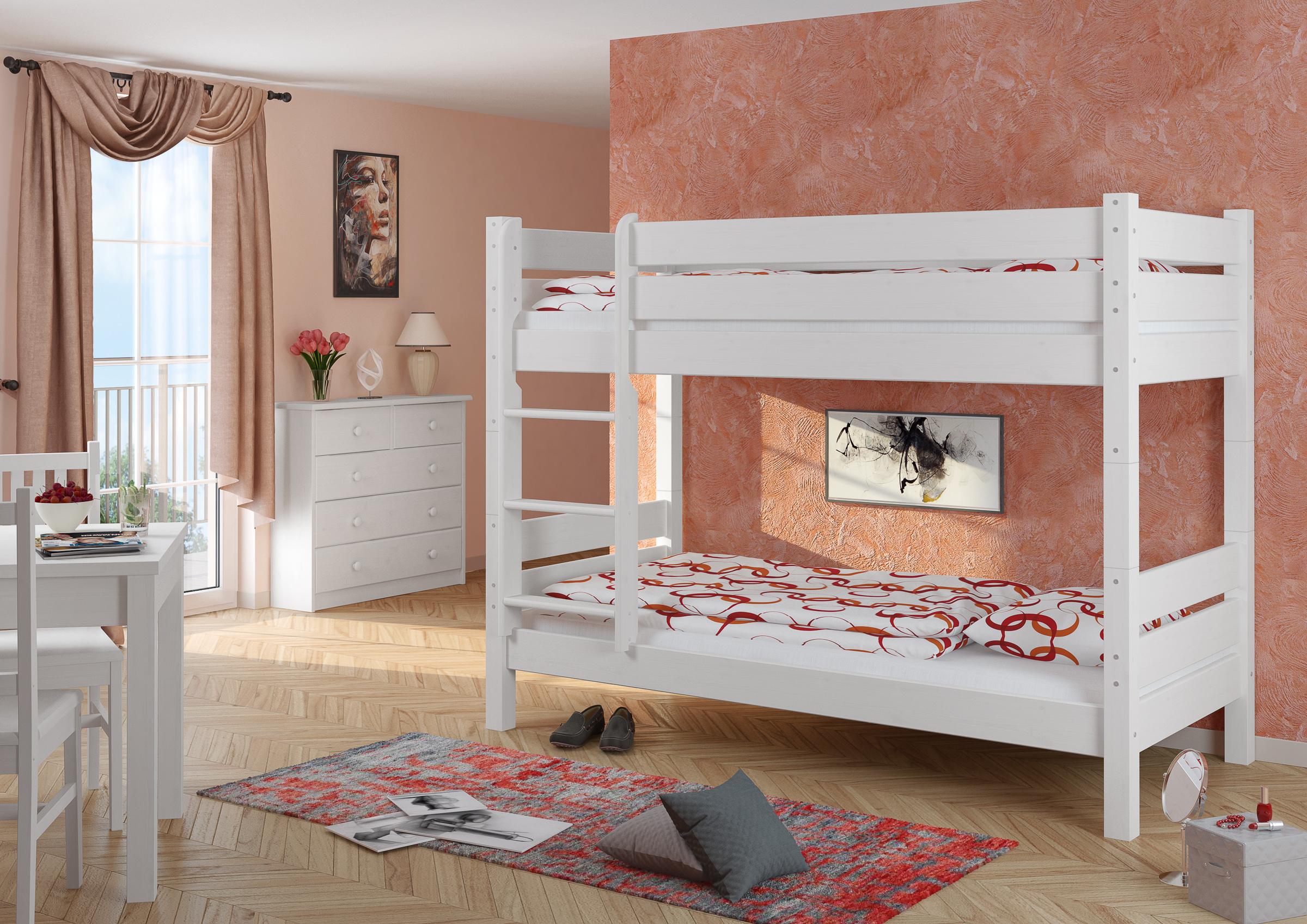 etagenbett hochbett stockbett stabil 90x200 teilbar 2 rollroste w t100 4250639504950 ebay. Black Bedroom Furniture Sets. Home Design Ideas
