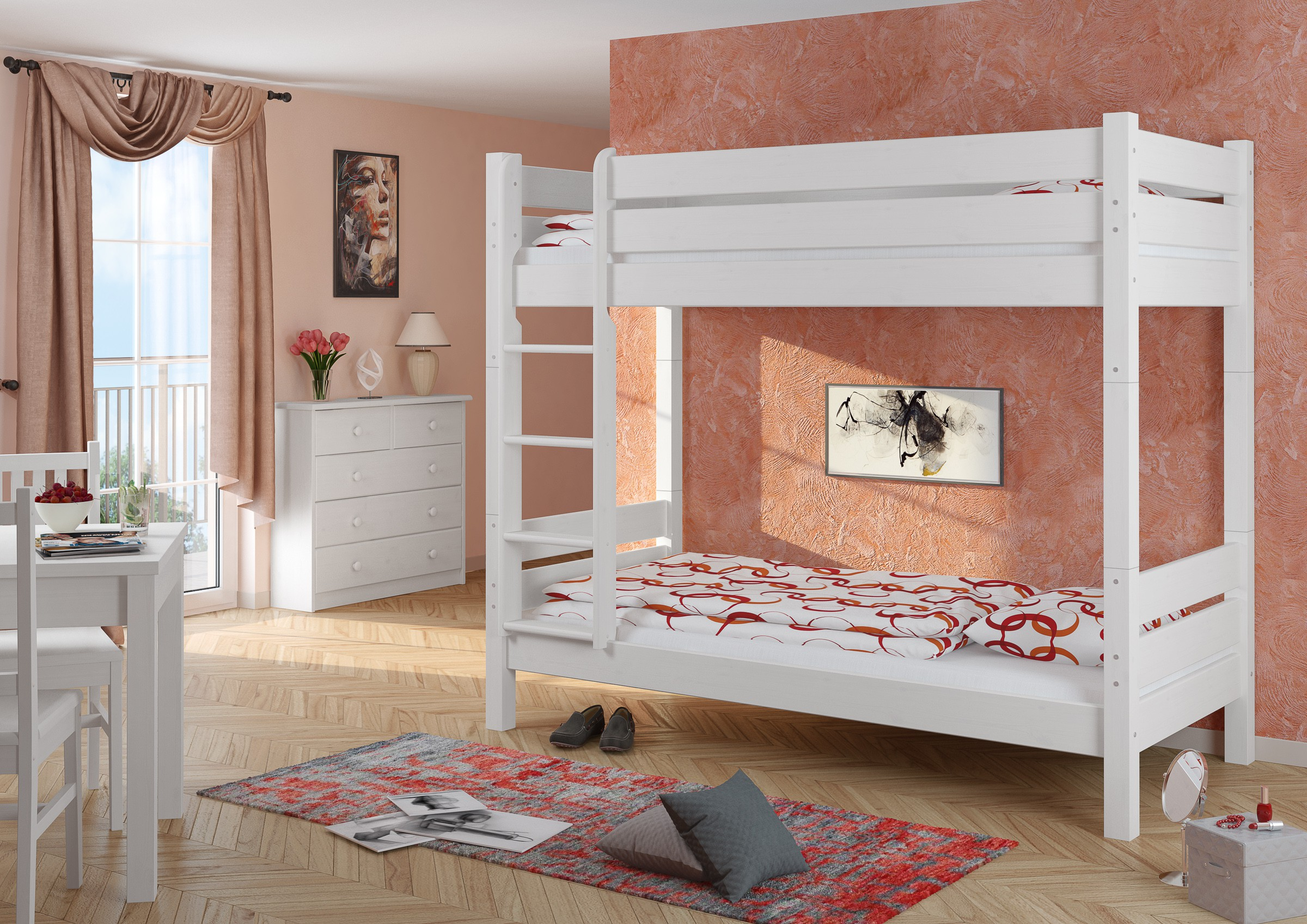 hochbett etagenbett wei 90x200 teilbar 2 rollroste. Black Bedroom Furniture Sets. Home Design Ideas