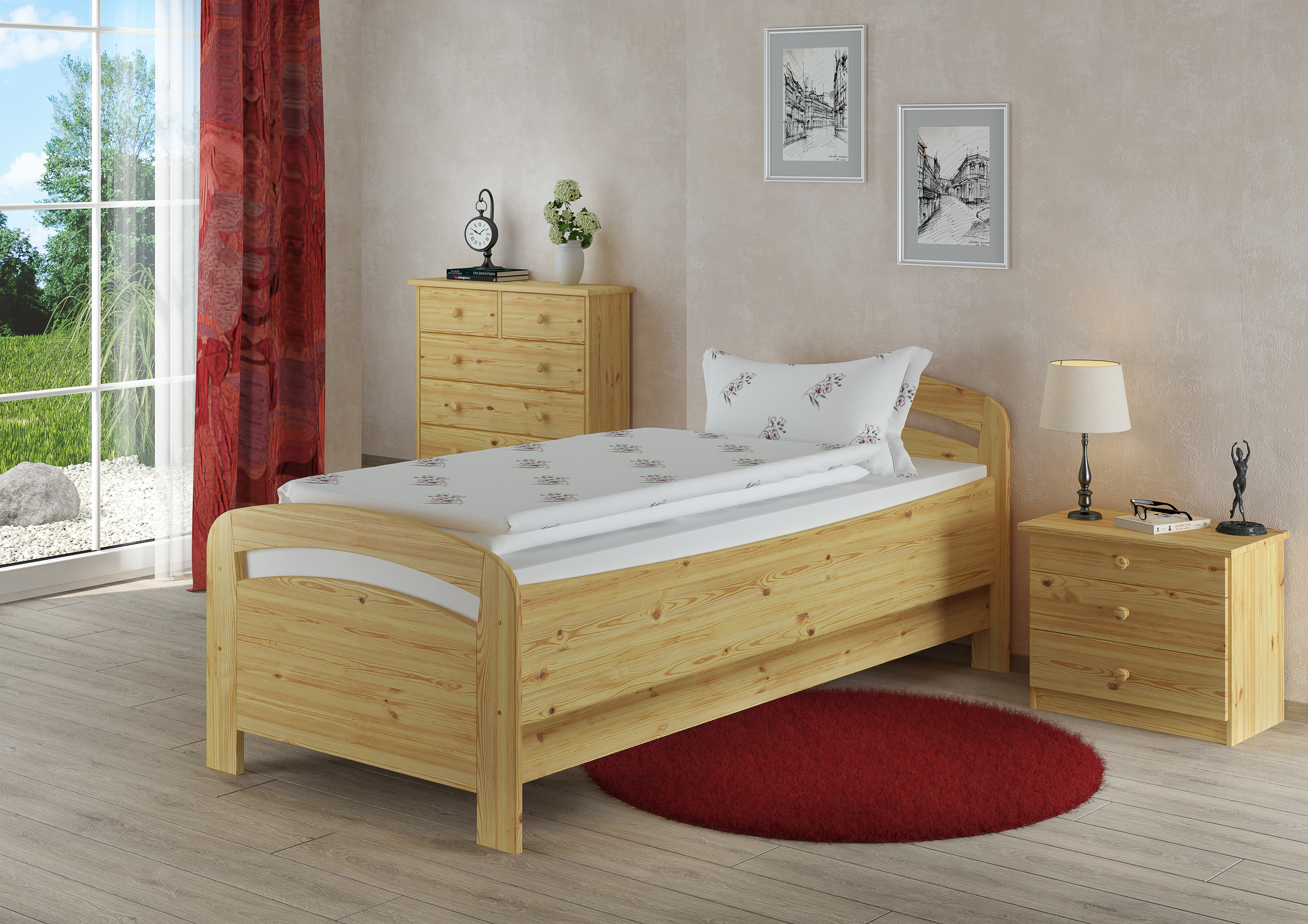 seniorenbett extra hoch einzelbett 90x200 kiefer massivholz holzbett or ebay. Black Bedroom Furniture Sets. Home Design Ideas