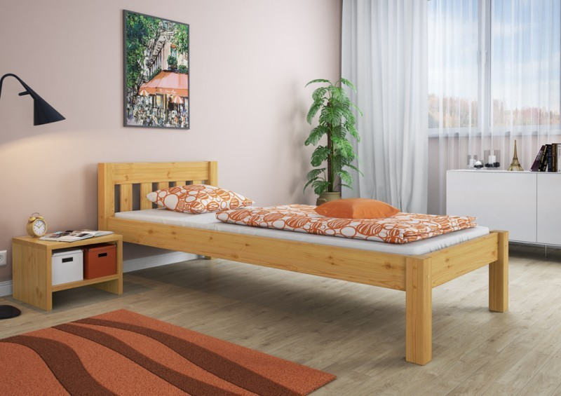 bett futonbett jugendbett holzbett kiefer 100x200 rollrost matratze m ebay. Black Bedroom Furniture Sets. Home Design Ideas