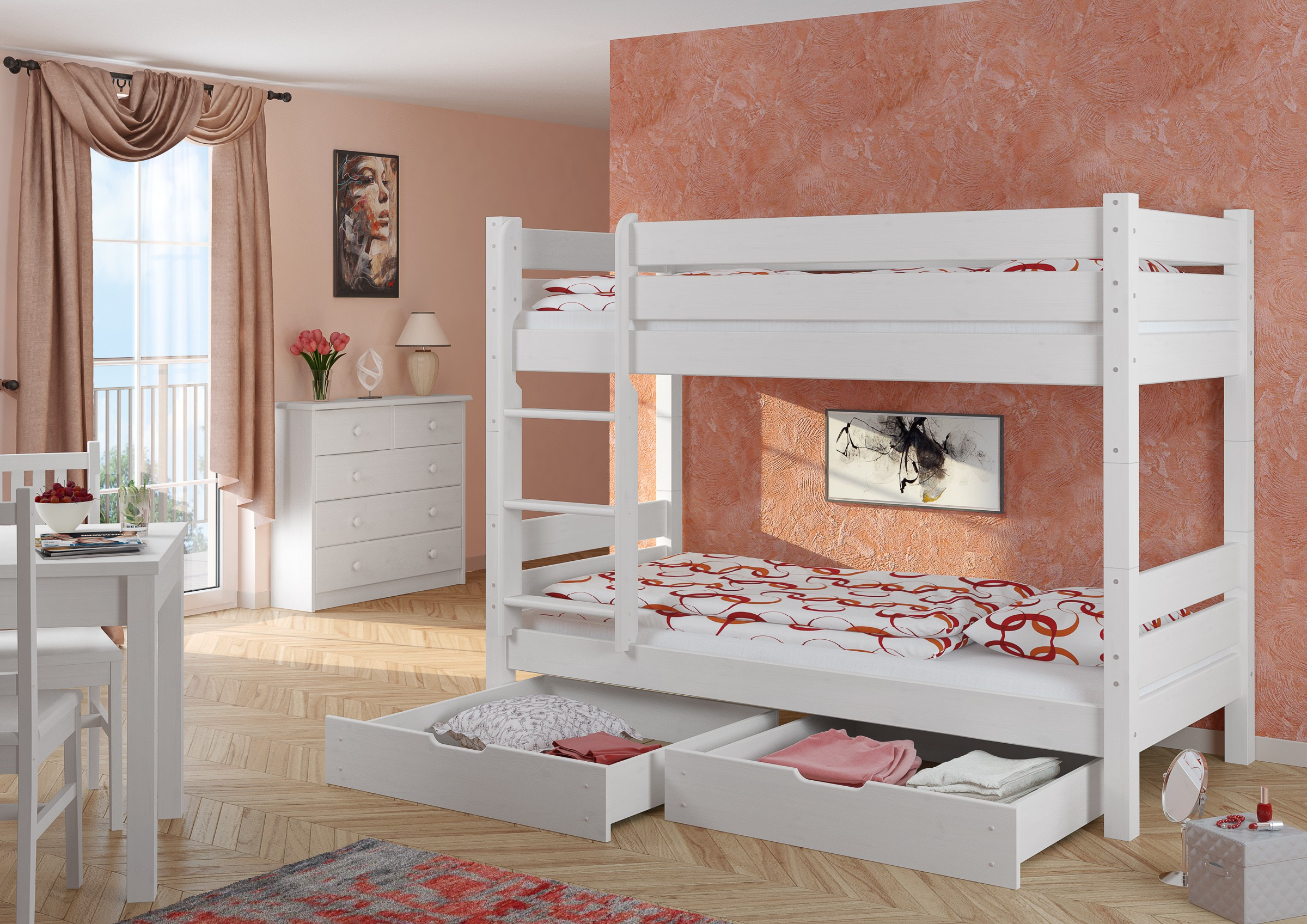 stockbett hochbett etagenbett wei 90x200 mit 2 bettk sten w t80 s2 4250639500846 ebay. Black Bedroom Furniture Sets. Home Design Ideas