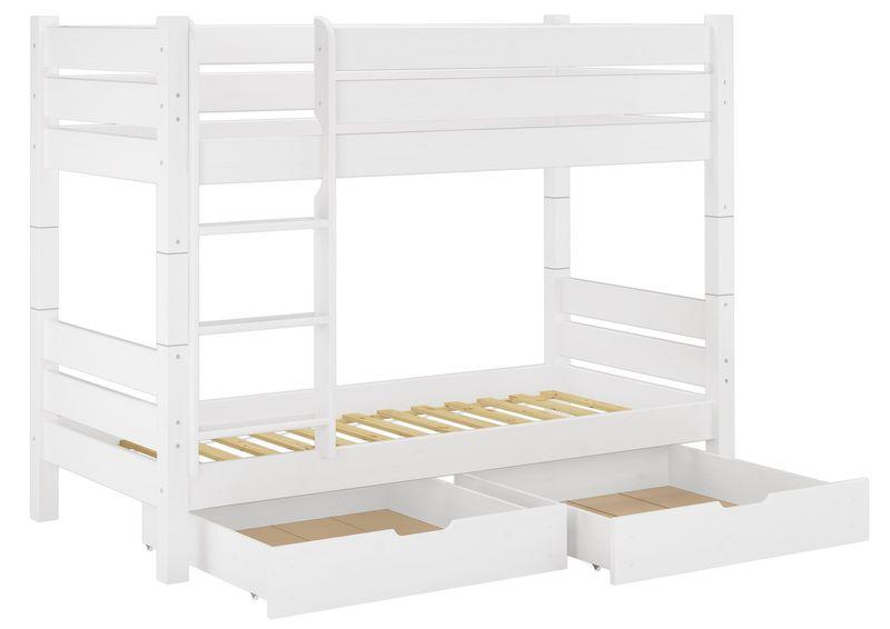 stockbett hochbett etagenbett wei 90x200 mit 2 bettk sten w t80 s2 4250639500846 ebay. Black Bedroom Furniture Sets. Home Design Ideas