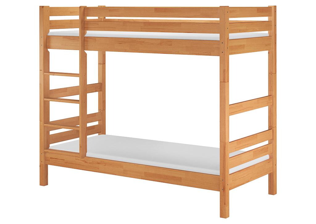 Solido letto a castello 90x200 in Faggio anche per Adulti con materassi  60.17-09 M | www.steinhaus-massivholzmoebel.shop