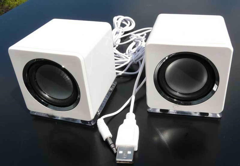design usb lautsprecher boxen f r laptop pc tv mp3 player handys in wei dw ebay. Black Bedroom Furniture Sets. Home Design Ideas