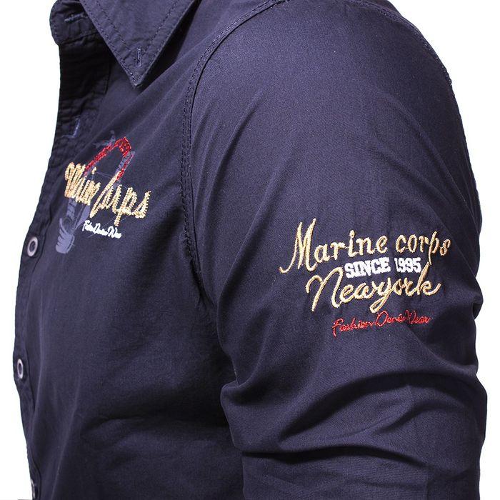 Herren Langarm Hemd MC Marine Eagle ID1130   – Bild 8
