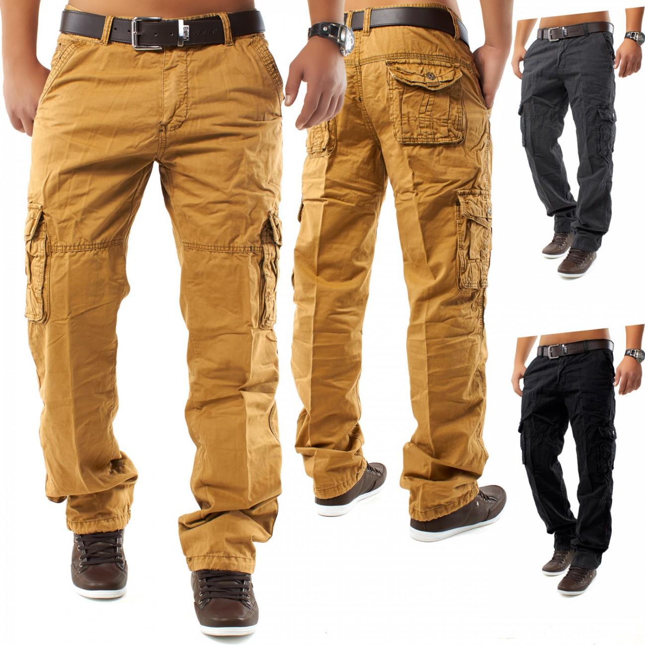 cargo hose jeans loose fit chinohose cargohose work trousers dromedar ebay. Black Bedroom Furniture Sets. Home Design Ideas