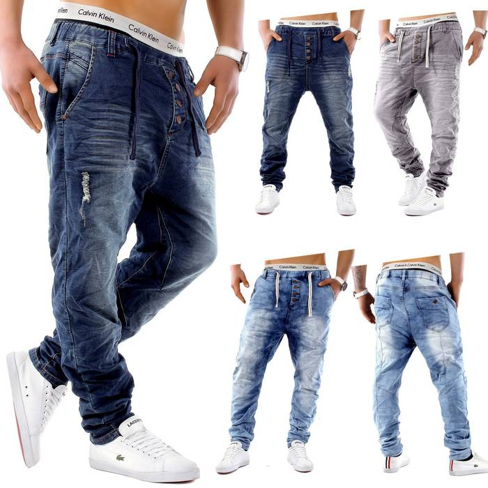 Urban Surface Herren Jogg Jeans Haremshose Denim Baggy Pants H1242