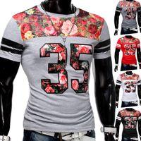 Herren Floral 35 T-Shirt ID1264 + Lederpatch