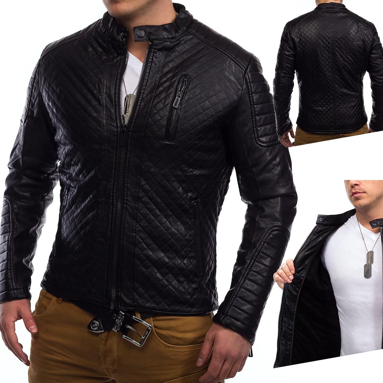 online store caa9b d9903 Herren Winter Lederjacke Coby Biker Jacke Kunstleder ...