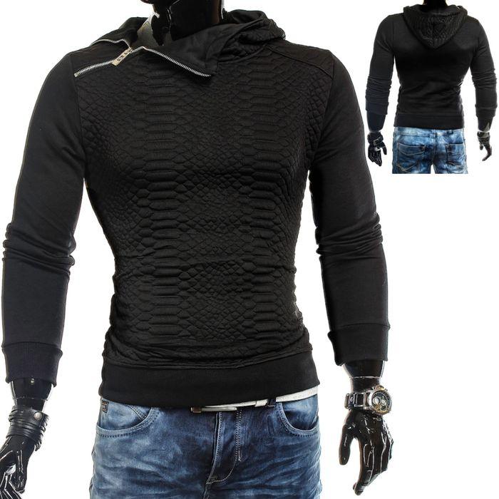 Herren Kapuzenpullover Sweatshirt Hoodie mit Reißverschluss ID1322 Pittsburgh schwarz – Bild 1