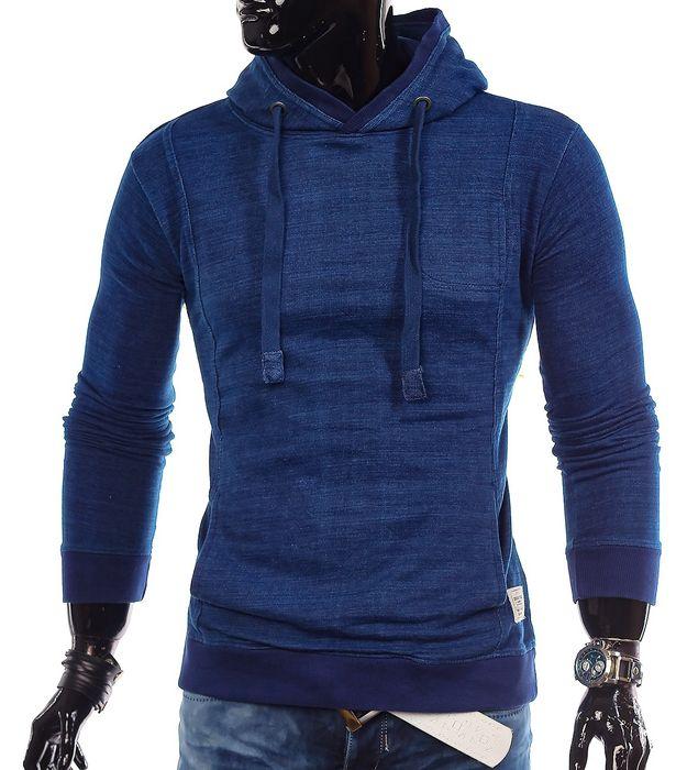 Herren Vintage Kapuzenpullover Sweatshirt Hoodie ID1328 Philadelphia indigo blau meliert – Bild 2