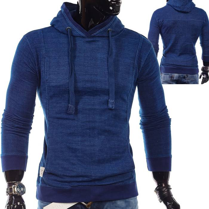Herren Vintage Kapuzenpullover Sweatshirt Hoodie ID1328 Philadelphia indigo blau meliert – Bild 1