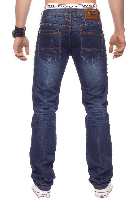 Herren Jeans Hose Nieten Stone Washed H1330 – Bild 4