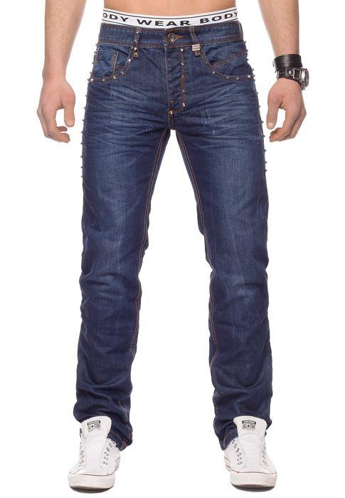 Herren Jeans Hose Nieten Stone Washed H1330 – Bild 2