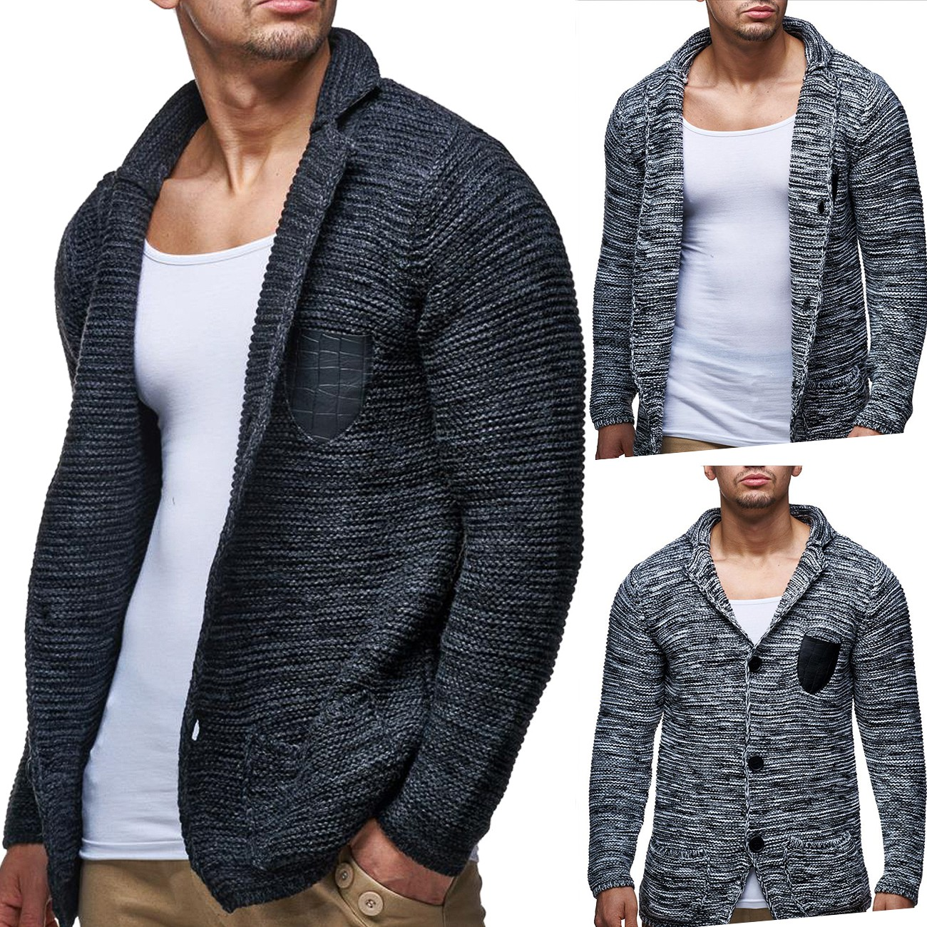herren strickjacke cardigan grobstrick pullover elegant verschiedene farben ebay. Black Bedroom Furniture Sets. Home Design Ideas