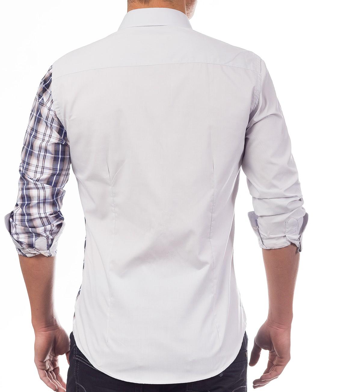 Herrenhemd langarm kariert Poloshirt SlimFit Freizeithemd Casual 4 Farben