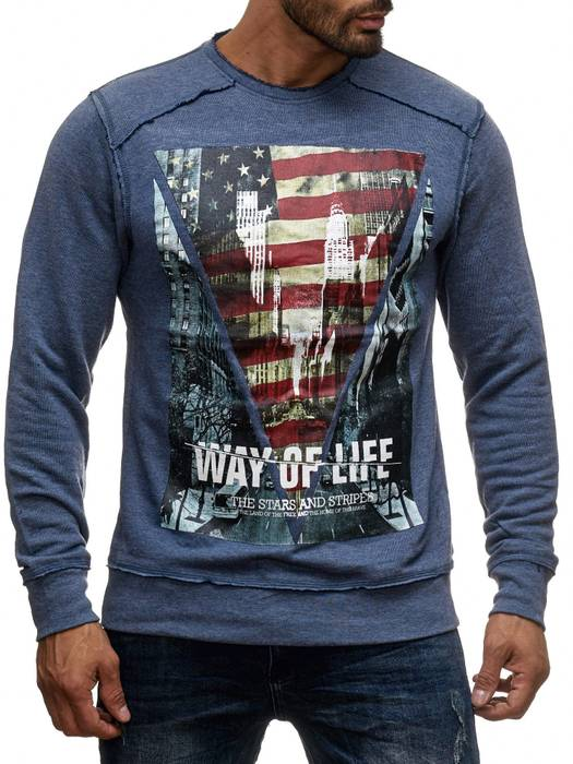 Herren Longsleeve | (Regular Fit) Pullover-Sweatshirt mit New York/Way of Life Print, Außen-Nähten und Rundhals-Ausschnitt (O-Neck) | H1393 von Sublevel – Bild 2