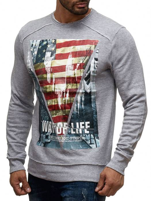 Herren Longsleeve | (Regular Fit) Pullover-Sweatshirt mit New York/Way of Life Print, Außen-Nähten und Rundhals-Ausschnitt (O-Neck) | H1393 von Sublevel – Bild 6