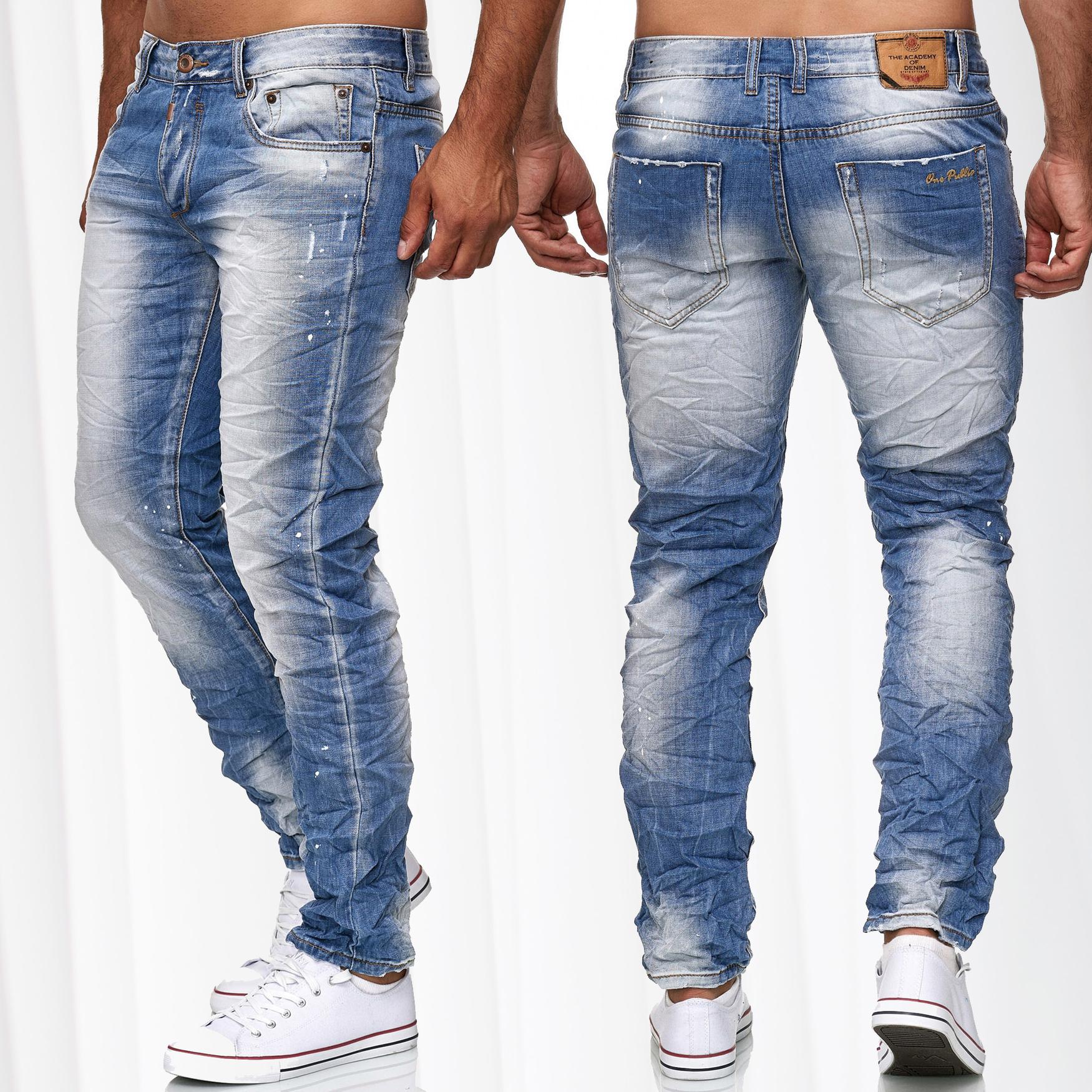 49108a47a0d364 Herren Jeans Hose Knitter Vintage Denim Used Look Slim Fit Stone Washed  Crinkle - Nr 1409