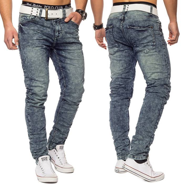 Herren Sweat Jeans Acid Wash Conques ID1420 Regular Fit