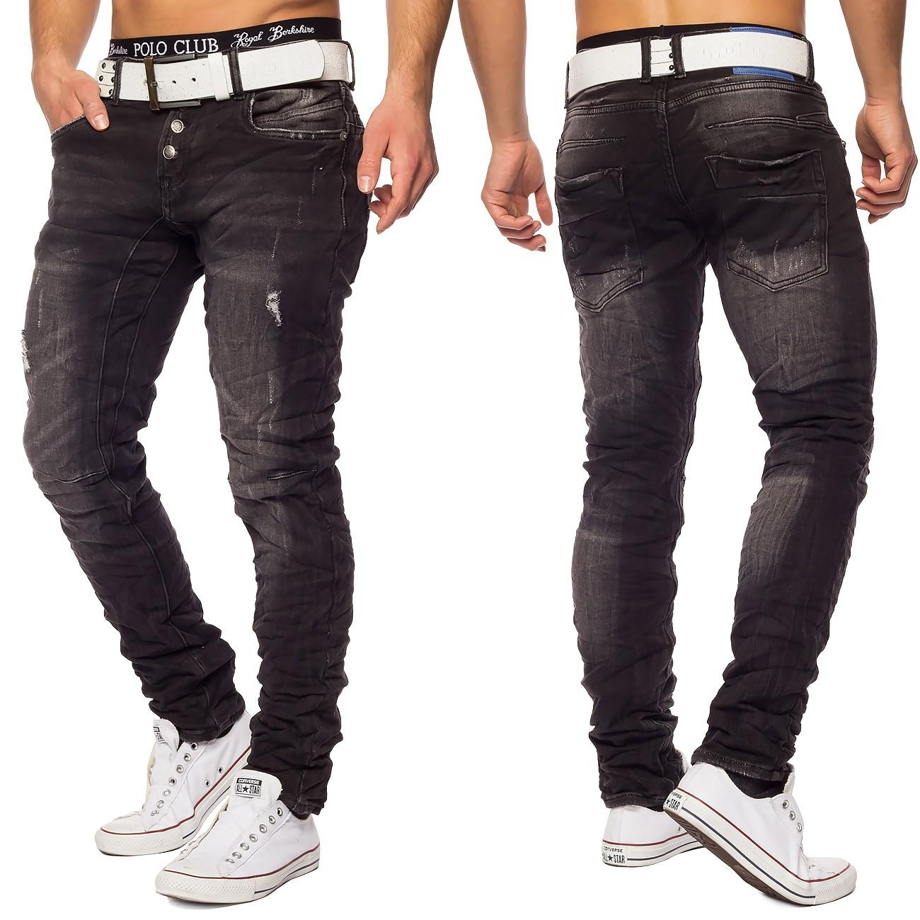 herren destroyed denim jeans grau used look slim fit. Black Bedroom Furniture Sets. Home Design Ideas