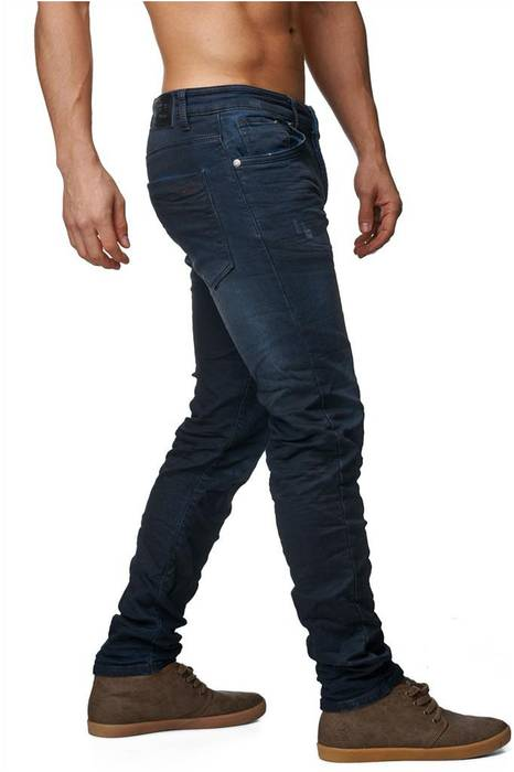 Herren Jeans | Slim Fit · Dunkle Jeanshose · Used-Look · Knitter Falten · Crinkle · Blue Jeans · Stretch · schmales Bein · Tapered Fit · Denim-Optik · Stone Washed | H1429 von One Public – Bild 3