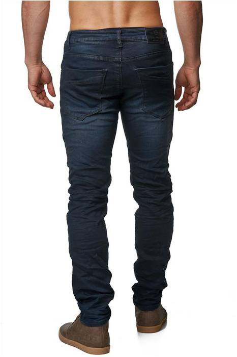Herren Jeans | Slim Fit · Dunkle Jeanshose · Used-Look · Knitter Falten · Crinkle · Blue Jeans · Stretch · schmales Bein · Tapered Fit · Denim-Optik · Stone Washed | H1429 von One Public – Bild 4