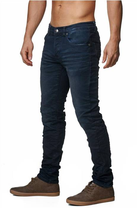Herren Jeans | Slim Fit · Dunkle Jeanshose · Used-Look · Knitter Falten · Crinkle · Blue Jeans · Stretch · schmales Bein · Tapered Fit · Denim-Optik · Stone Washed | H1429 von One Public – Bild 2