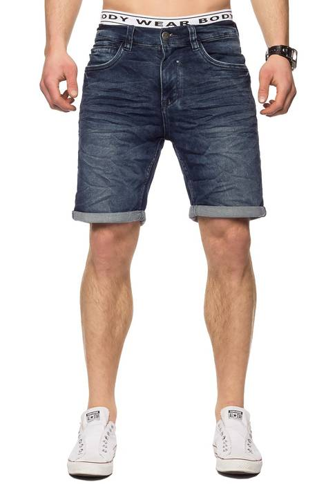 Herren Jeans-Shorts | Casual Fit · Kurze Bermuda · Denim-Look · Knitter Falten · Crinkle · Used · Stretch Short · Freizeit · Walkshort · leichte Waschung · Stone Washed | H1432 von Urban Surface – Bild 4