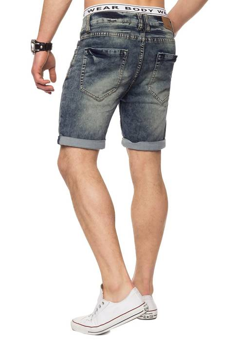 Herren Jeans-Shorts | Casual Fit · Kurze Bermuda · Denim-Look · Knitter Falten · Crinkle · Used · Stretch Short · Freizeit · Walkshort · leichte Waschung · Stone Washed | H1432 von Urban Surface – Bild 6