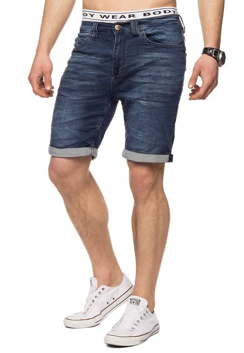 Herren Jeans-Shorts | Casual Fit · Kurze Bermuda · Denim-Look · Knitter Falten · Crinkle · Used · Stretch Short · Freizeit · Walkshort · leichte Waschung · Stone Washed | H1432 von Urban Surface – Bild 11
