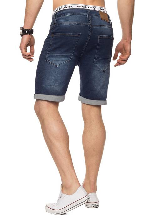 Herren Jeans-Shorts | Casual Fit · Kurze Bermuda · Denim-Look · Knitter Falten · Crinkle · Used · Stretch Short · Freizeit · Walkshort · leichte Waschung · Stone Washed | H1432 von Urban Surface – Bild 12
