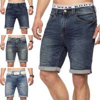 Herren Jeans-Shorts | Casual Fit · Kurze Bermuda · Denim-Look · Knitter Falten · Crinkle · Used · Stretch Short · Freizeit · Walkshort · leichte Waschung · Stone Washed | H1432 von Urban Surface