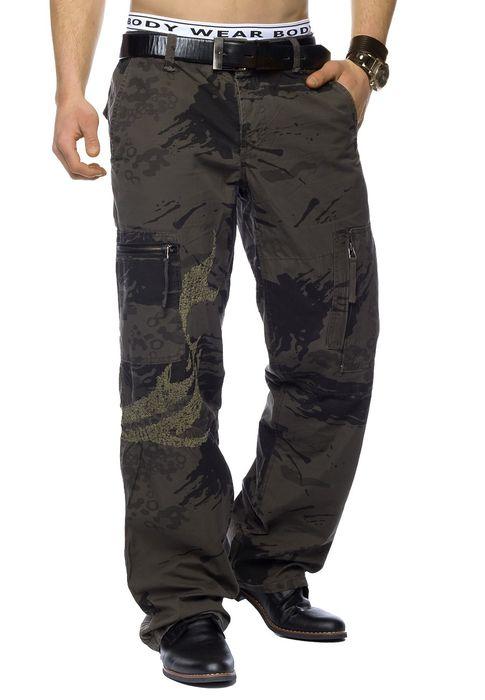 Herren Cargo-Hose | Loose Fit · Lange Outdoor Cargo Hose · Military Freizeithose · aus reiner Baumwolle · Camouflage-Muster in Braun und Beige | H1446 in Markenqualität – Bild 3