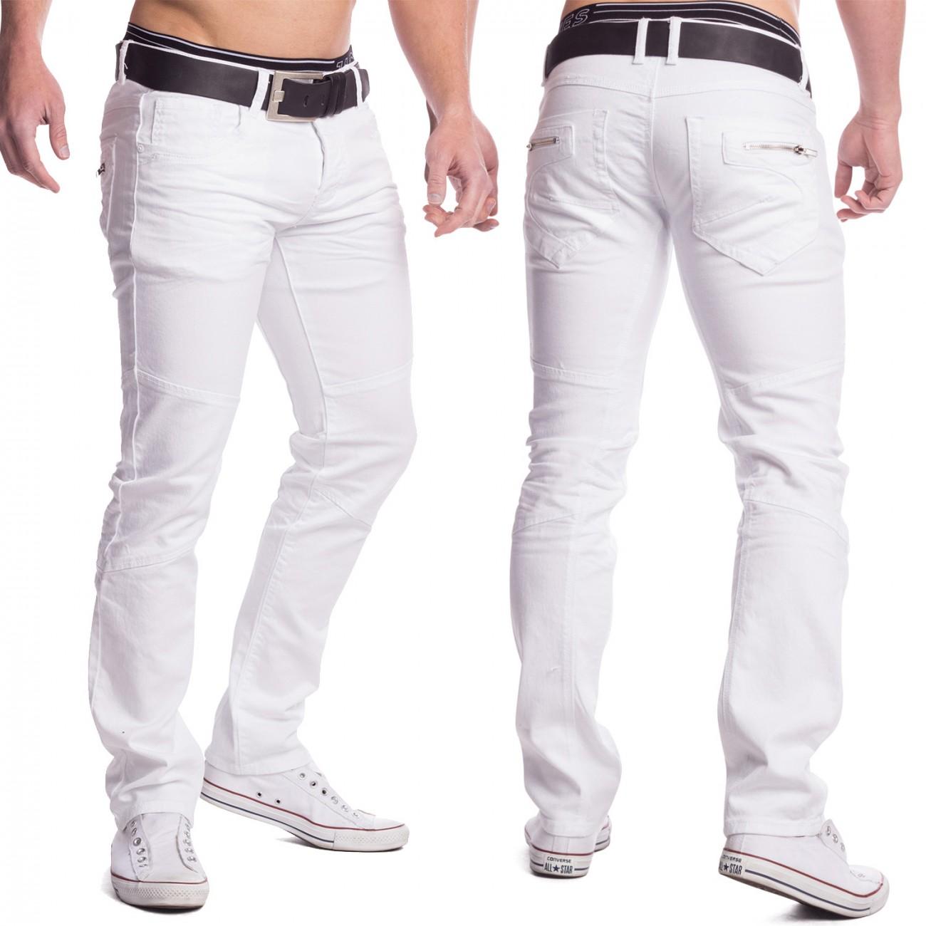 Herren Jeans weiß Denim Sommerhose Slim Fit Hose Baumwolle 5-Pocket ...
