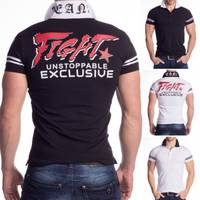 New Mentality Herren Polo Shirt Kurzarm Hemd Rücken Print Kontrast H1475 001